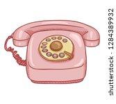 vector cartoon pink retro style ... | Shutterstock .eps vector #1284389932