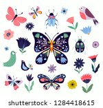 butterflies  flowers and birds... | Shutterstock .eps vector #1284418615