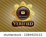 gold emblem or badge with... | Shutterstock .eps vector #1284423112