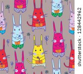seamless pattern with rabbits... | Shutterstock .eps vector #128442962