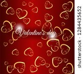 red  vector layout with hearts. ... | Shutterstock .eps vector #1284435652