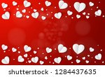 abstract flying white hearts on ... | Shutterstock .eps vector #1284437635