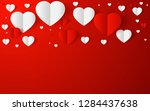 abstract flying red and white... | Shutterstock .eps vector #1284437638