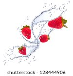 Strawberries In Water Splash ...