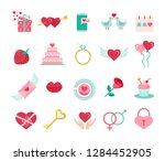 valentine's day flat icons set. ... | Shutterstock .eps vector #1284452905