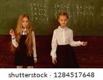 solve problem. two schoolgirls... | Shutterstock . vector #1284517648