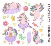 cute unicorn set  ballerina... | Shutterstock .eps vector #1284519115