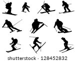 Set of Ski Vector Silhouettes