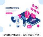 a person leaves a review of the ... | Shutterstock .eps vector #1284528745