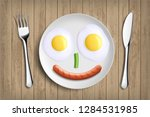 plate with fried eggs ... | Shutterstock .eps vector #1284531985