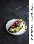 avocado toast with seeds and... | Shutterstock . vector #1284535618