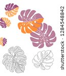 vector tropical pattern with... | Shutterstock .eps vector #1284548842