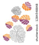 vector tropical pattern with... | Shutterstock .eps vector #1284548848
