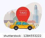 taxi car. vector modern flat... | Shutterstock .eps vector #1284553222
