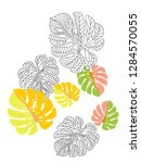 vector tropical pattern with... | Shutterstock .eps vector #1284570055