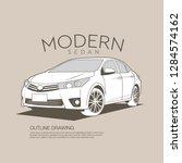 luxury modern sedan isolated... | Shutterstock .eps vector #1284574162