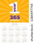 wall calendar poster for 2019... | Shutterstock .eps vector #1284597745