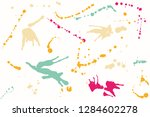 hand drawn set of colorful ink... | Shutterstock .eps vector #1284602278