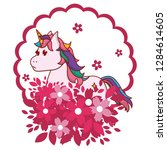 unicorn round icon | Shutterstock .eps vector #1284614605