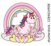 unicorn with rainbow | Shutterstock .eps vector #1284614908