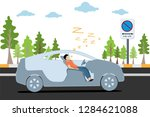 vector of man sleeping in car... | Shutterstock .eps vector #1284621088