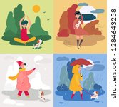 a girl in all four seasons and... | Shutterstock .eps vector #1284643258