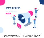 refer a friend isometric icon ...