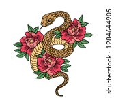 tattoo with rose and snake.... | Shutterstock .eps vector #1284644905