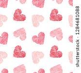 Hand Drawn Seamless Pink Heart...