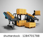 gray forklifts loading boxes... | Shutterstock . vector #1284701788