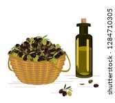 vector basket with ripe olives... | Shutterstock .eps vector #1284710305