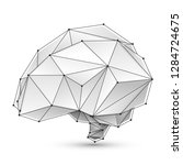 low poly white human brain on a ... | Shutterstock .eps vector #1284724675
