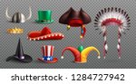 masquerade hats set on... | Shutterstock .eps vector #1284727942