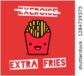 Exercise Extra Fries Pun Poster
