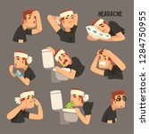 sick man with a bandaged head ... | Shutterstock .eps vector #1284750955