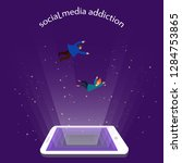 social media addiction  concept.... | Shutterstock .eps vector #1284753865
