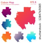 map of gabon with beautiful... | Shutterstock .eps vector #1284765085