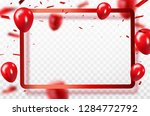 red balloons  confetti concept... | Shutterstock .eps vector #1284772792