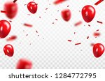 red balloons  confetti concept... | Shutterstock .eps vector #1284772795