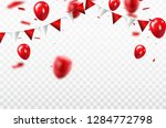 red balloons  confetti concept... | Shutterstock .eps vector #1284772798
