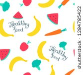 seamless pattern with fruits... | Shutterstock .eps vector #1284785422