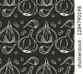 seamless pattern with garlic.... | Shutterstock .eps vector #1284790198