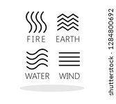 four elements icons in flat...