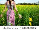 charming hippie girl lifestyle. ... | Shutterstock . vector #1284802345