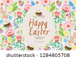 happy easter  cute vector... | Shutterstock .eps vector #1284805708