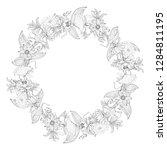 wreath from vanilla orchid ...   Shutterstock .eps vector #1284811195