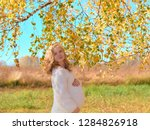 beautiful pregnant woman on... | Shutterstock . vector #1284826918