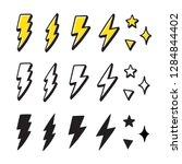 set of cartoon style lightning... | Shutterstock .eps vector #1284844402