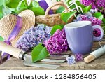 springtime lilac and gardening | Shutterstock . vector #1284856405