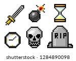 pixel art 8 bit objects. skull... | Shutterstock .eps vector #1284890098